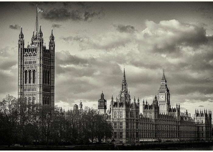Black And White Greeting Card featuring the photograph Parliament by Stewart Marsden