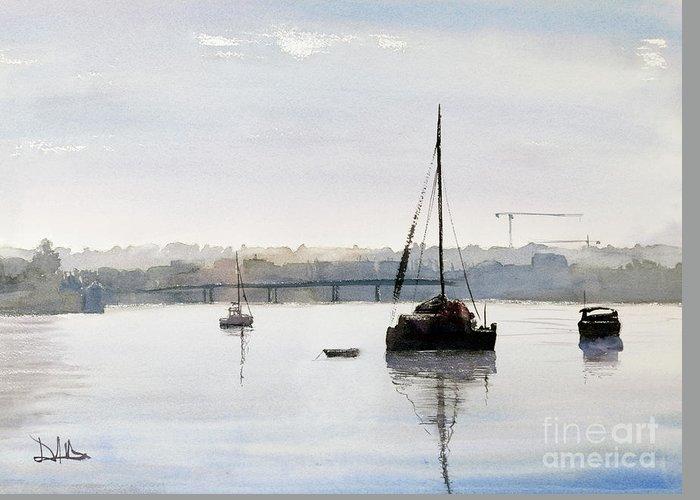 Parramatta River Boats Bay Australia Sydney Greeting Card featuring the painting Parramatta Evening by David Massey