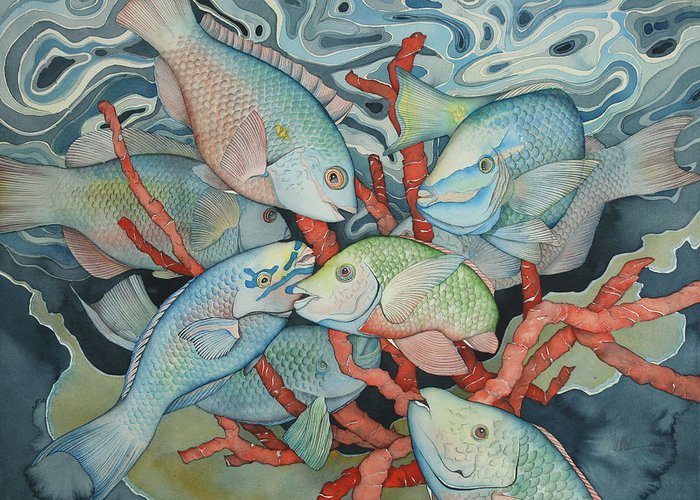 Fish Greeting Card featuring the painting Parromania by Liduine Bekman