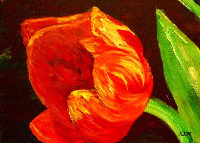 Tulip Greeting Card featuring the painting Parrot Tulip by Karen McNamara