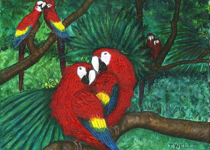 Parrots Greeting Card featuring the painting Parrots Preening by Tanna Lee M Wells
