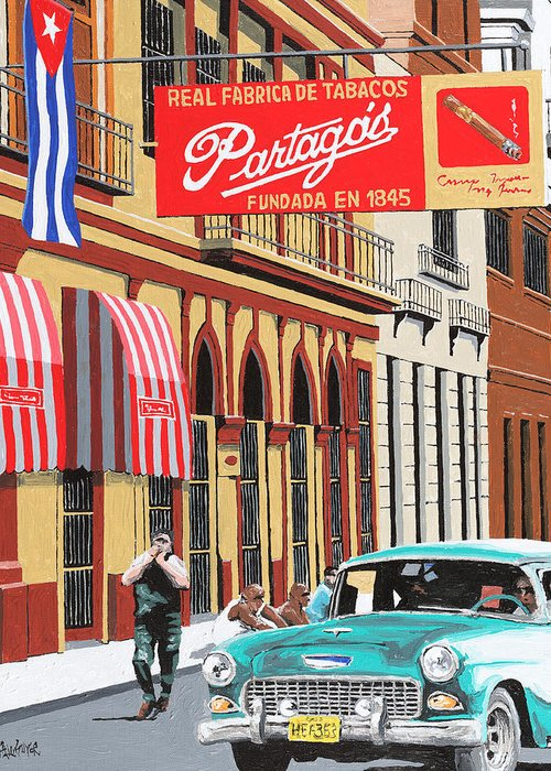 Partagas Cigar Factory Greeting Card featuring the painting Partagas Cigar Factory Havana Cuba by Miguel G