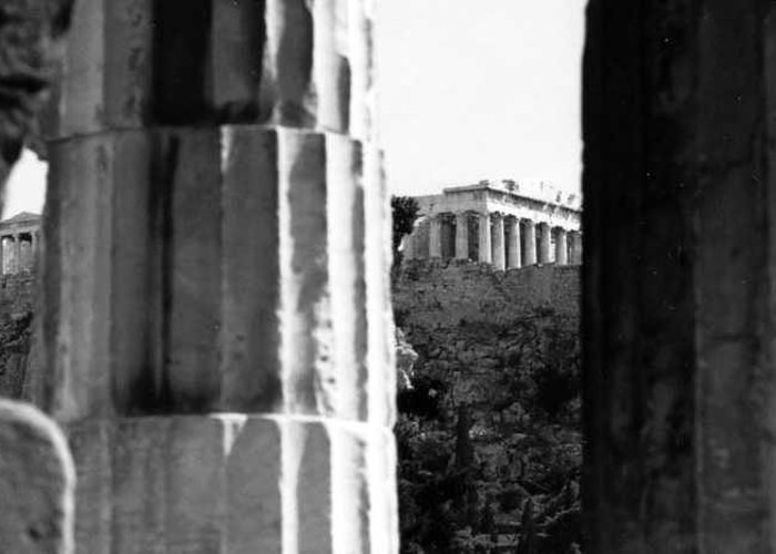 Parthenon Greeting Card featuring the photograph Parthenon From The Temple Of Hephaistos Athens by Susan Chandler