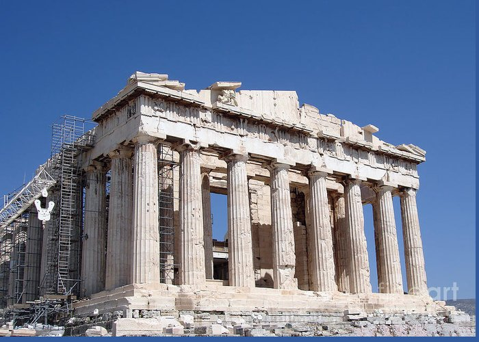 Acropolis Greeting Card featuring the photograph Parthenon Front Facade by Jane Rix