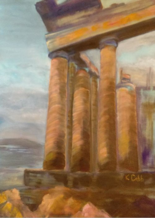 Painting Parthenon Greeting Card featuring the painting Parthenon by Katherine Cobb