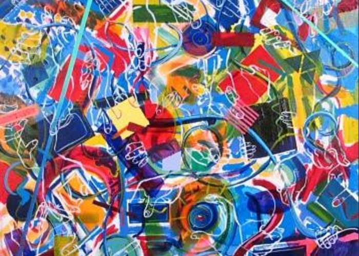 Color Greeting Card featuring the painting Parts Of The Painting by Rollin Kocsis