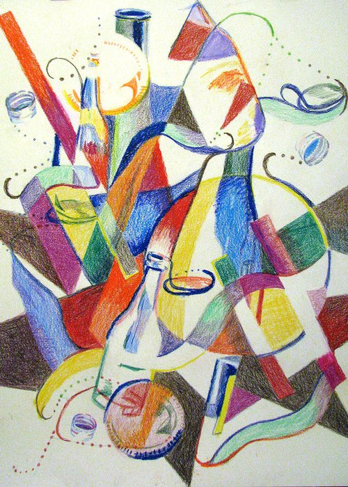 Cubism Greeting Card featuring the painting Party Bottles by Art Nomad Sandra Hansen