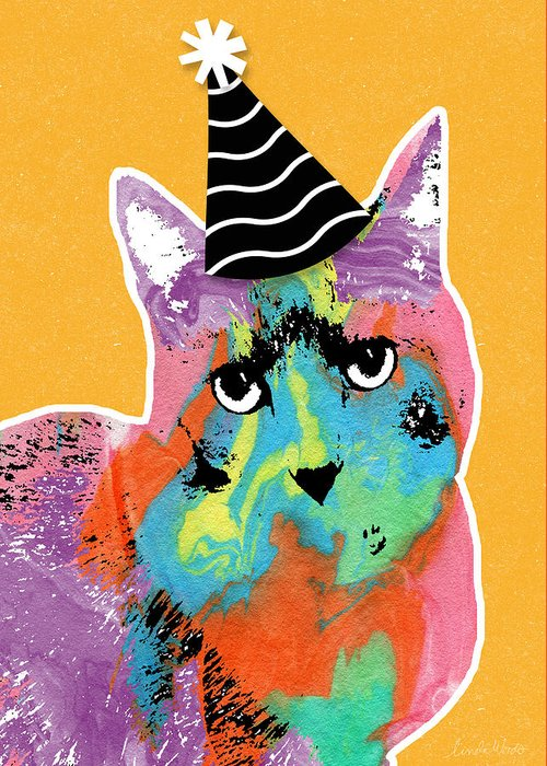 Cat Greeting Card featuring the mixed media Party Cat- Art By Linda Woods by Linda Woods