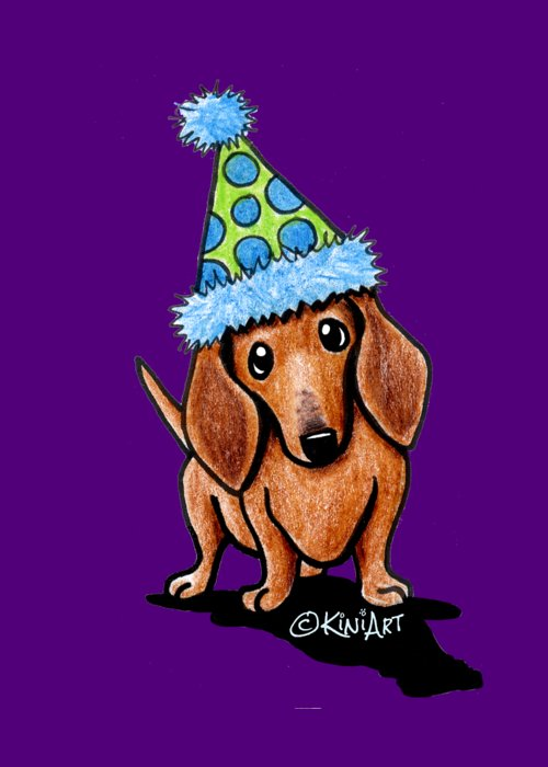 Party dachshund greeting card for sale by kim niles dachshund greeting card featuring the drawing party dachshund by kim niles m4hsunfo