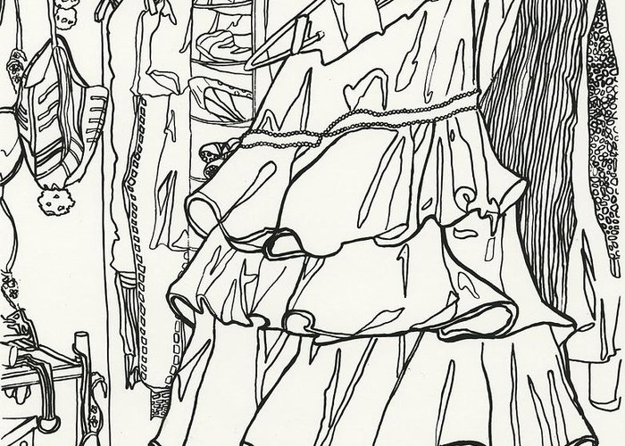 Dress Greeting Card featuring the drawing Party Dress In Closet by Kayla Race