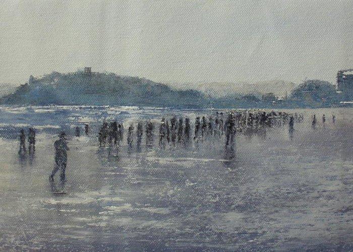 Sardinero Greeting Card featuring the painting Paseo Por La Playa Del Sardinero by Tomas Castano