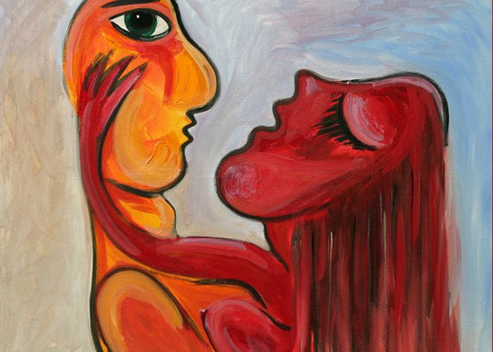 Abstract Oil On Canvas Picasso Yelow Red Love Greeting Card featuring the painting PASION serie 1 by Jorge Berlato