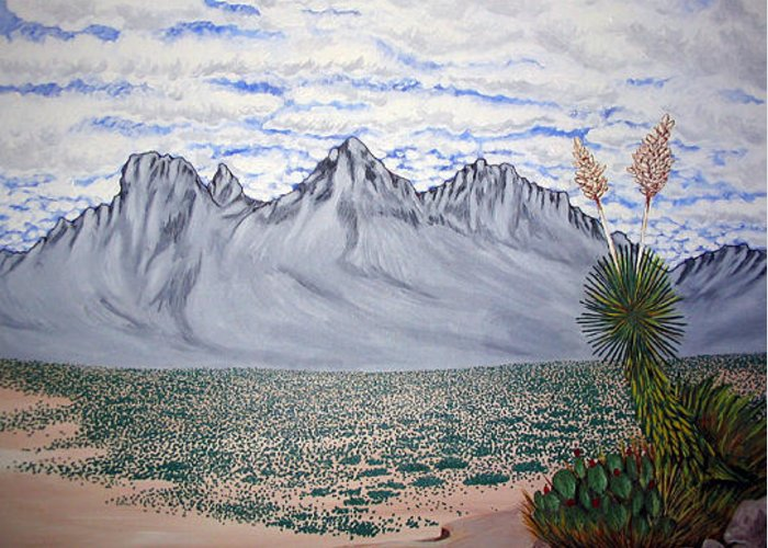 Desertscape Greeting Card featuring the painting Pass of the North by Marco Morales