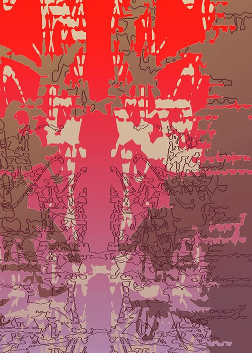 Red Greeting Card featuring the digital art Passage by Ceil Diskin