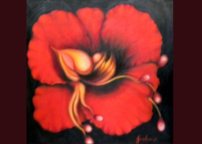 Red Surreal Bloom Artwork Greeting Card featuring the painting Passion Flower by Jordana Sands
