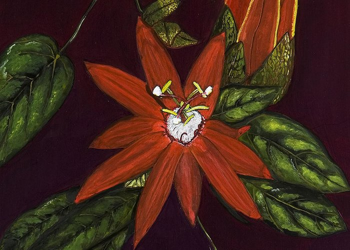 Flower Greeting Card featuring the painting Passion Flower by Rita Cortesi