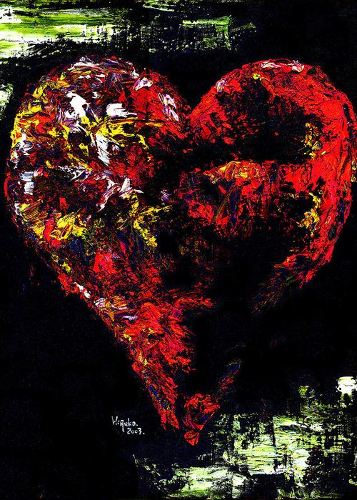 Heart Greeting Card featuring the painting Passion by Hiroko Sakai
