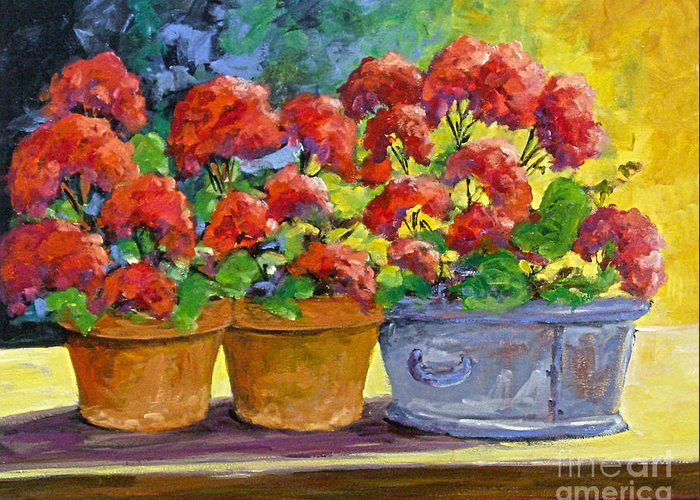 Still Life; Geraniums; Flowers; Terra Cotta; Red; Blue; Yellow; Green; Pranke; Greeting Card featuring the painting Passion In Red by Richard T Pranke