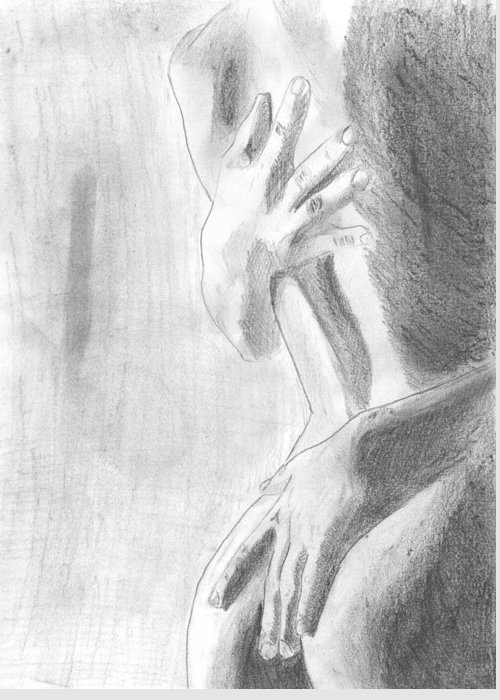 Passion Greeting Card featuring the drawing Passion by Kristina Mladenova