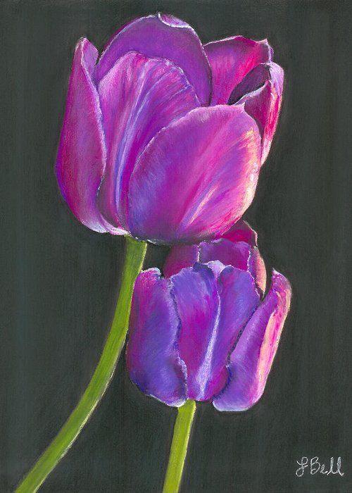 Tulip Greeting Card featuring the painting Passion by Laura Bell