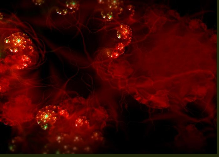 Passion Red Explosion Expression Blood Heart Greeting Card featuring the digital art Passional by Veronica Jackson