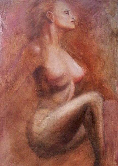 Woman Greeting Card featuring the painting Passionate Woman by Elizabeth Silk