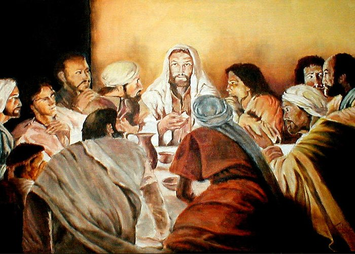 Christ Greeting Card featuring the painting Passover by G Cuffia