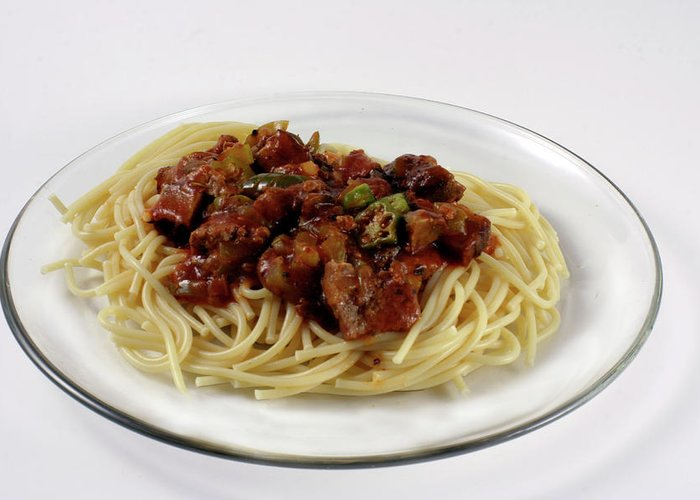 Spaghetti Greeting Card featuring the photograph Pasta Dish by Linda A Waterhouse