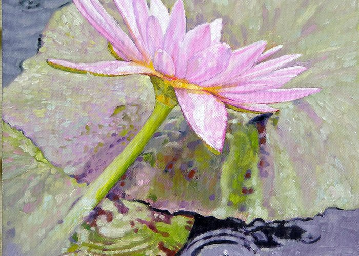 Water Lily Greeting Card featuring the painting Pastel Beauty by John Lautermilch