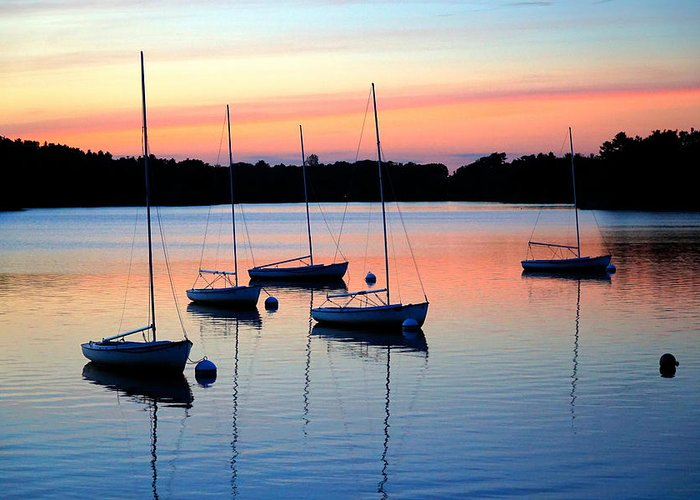 Sunset Greeting Card featuring the photograph Pastel Lake And Boats Simphony by Lilia D