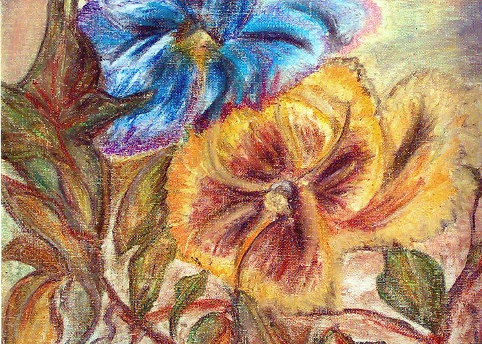 Pansy Greeting Card featuring the painting Pastel Pansy by Mikki Alhart