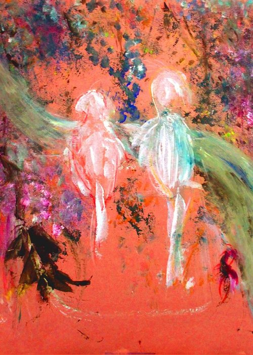 Abstract Greeting Card featuring the painting Pastel Parrots In Abstraction by Michela Akers