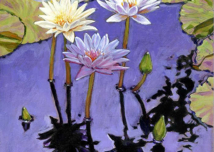 Water Lilies Greeting Card featuring the painting Pastel Petals by John Lautermilch