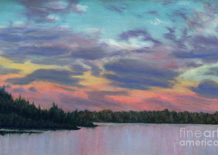 Landscape Greeting Card featuring the painting Pastel Sunset by Lynn Quinn