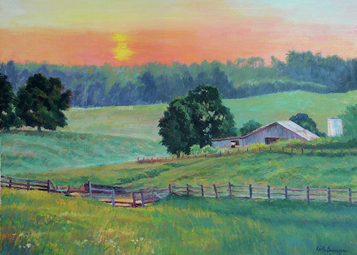 Impressionism Greeting Card featuring the painting Pastoral Sunset by Keith Burgess