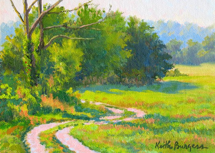 Landscape Greeting Card featuring the painting Pasture Road by Keith Burgess