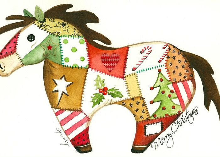 Horse Christmas Greeting Card Greeting Card featuring the painting Patchwork Christmas Horse by Stormy Logan