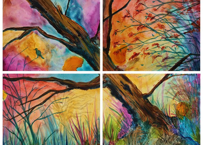 Tree Greeting Card featuring the painting Patchwork Sky Tree Painting With Colorful Sky by Jaime Haney