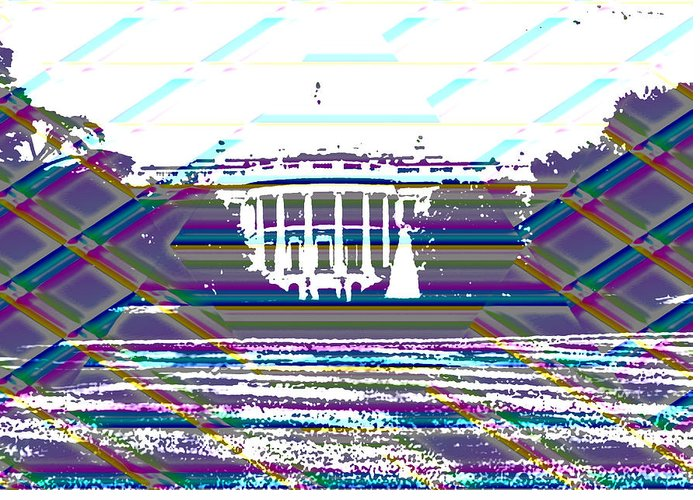 Washinton Monument Greeting Card featuring the digital art Patchwork White House by Richard Bragg