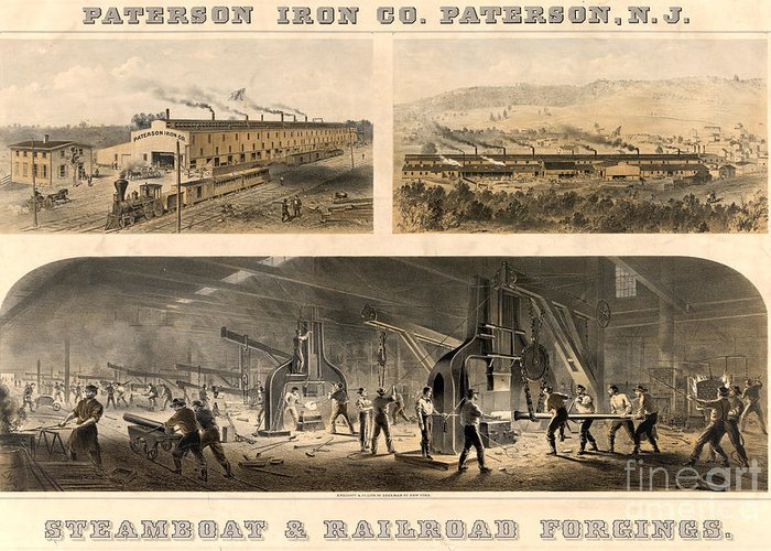 19th Century Greeting Card featuring the photograph Paterson Iron Company by Granger