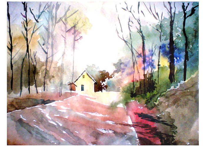Nature Greeting Card featuring the painting Path In Colors by Anil Nene