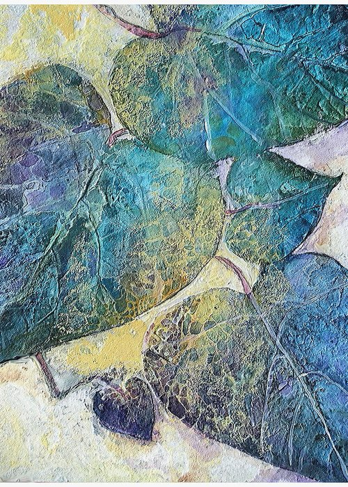 Acrylic Fluids And Inks With High Gloss Resin Finish Of Leaves And Early Morning Sunlight Greeting Card featuring the painting Path In Life by Mary Sonya Conti