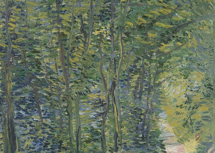Nature Greeting Card featuring the painting Path In The Woods Paris, May 1887 - July 1887 Vincent Van Gogh 1853 1890 by Artistic Panda