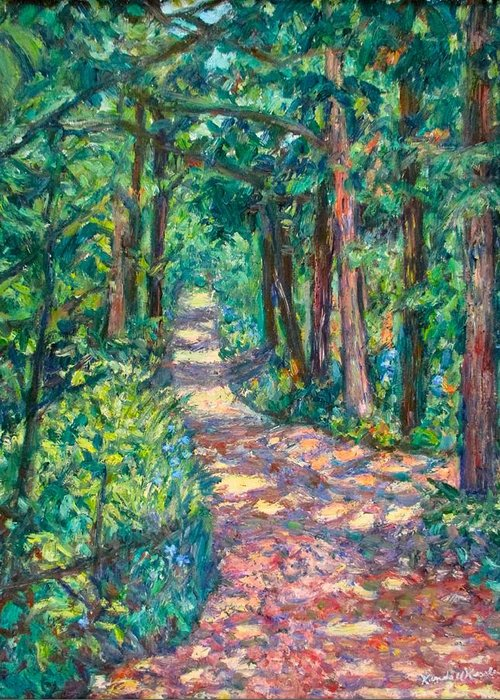 Path Greeting Card featuring the painting Path On Sharp Top by Kendall Kessler