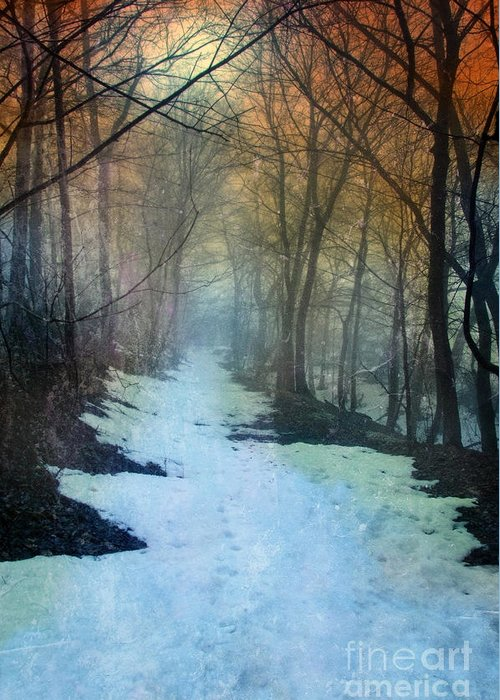 Path Greeting Card featuring the photograph Path Through The Woods In Winter At Sunset by Jill Battaglia