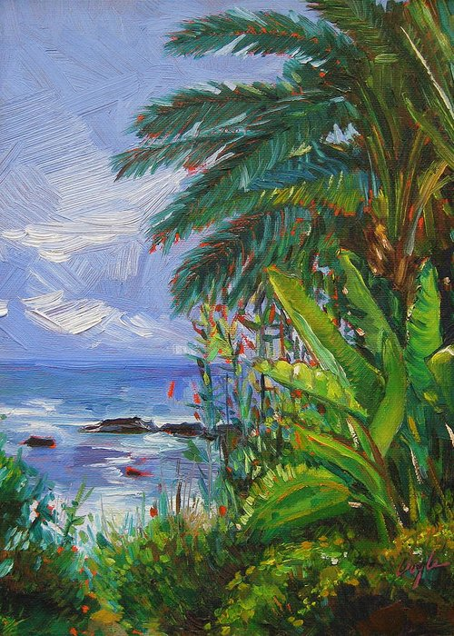 Spider Plant Greeting Card featuring the painting Path To The Sea by Karen Doyle