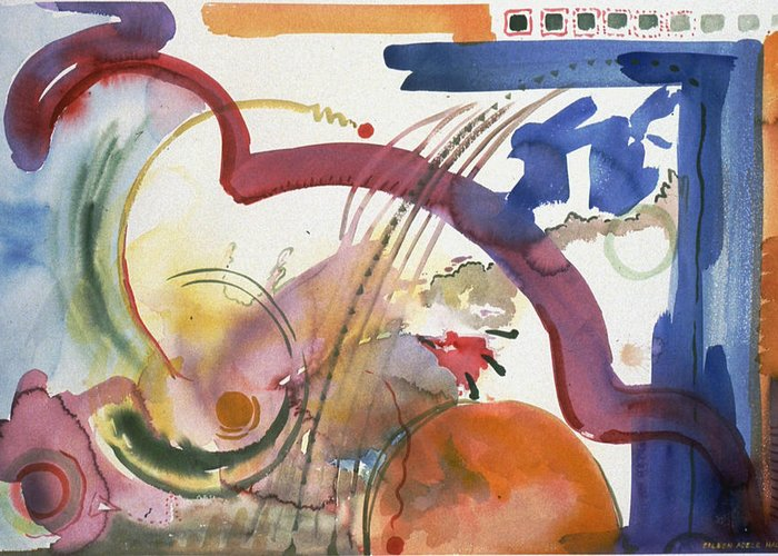 Abstract Greeting Card featuring the painting Paths And Places by Eileen Hale