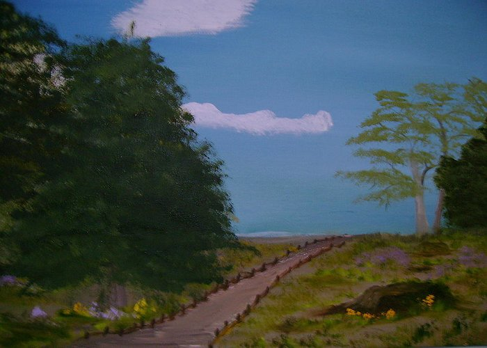 Landscape Greeting Card featuring the painting Pathway by Dottie Briggs