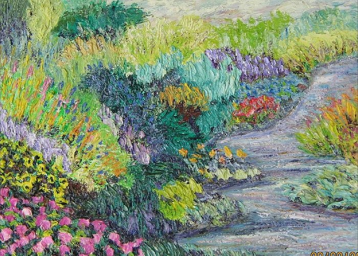 Flowers Greeting Card featuring the painting Pathway Of Flowers by Richard Nowak