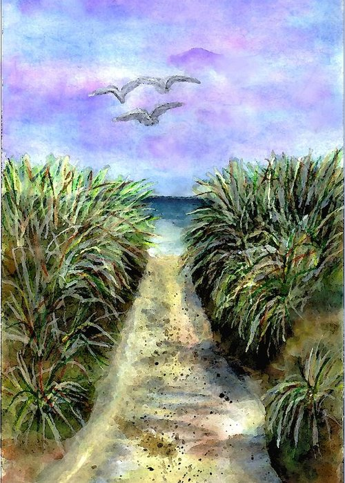 Beach Greeting Card featuring the painting Pathway To The Shore by Dina Sierra